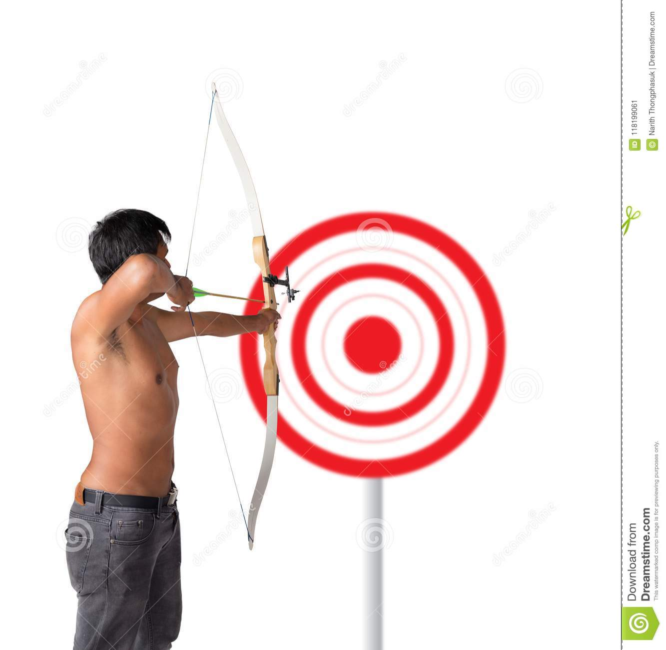 Asian man holding bow and shooting to archery target. Rear view, businessman aiming at target