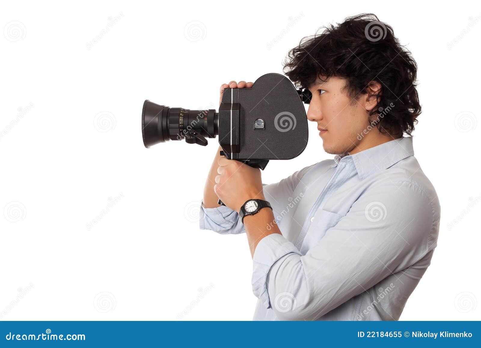 Asian Man Holding Old Camera Royalty Free Stock Photo