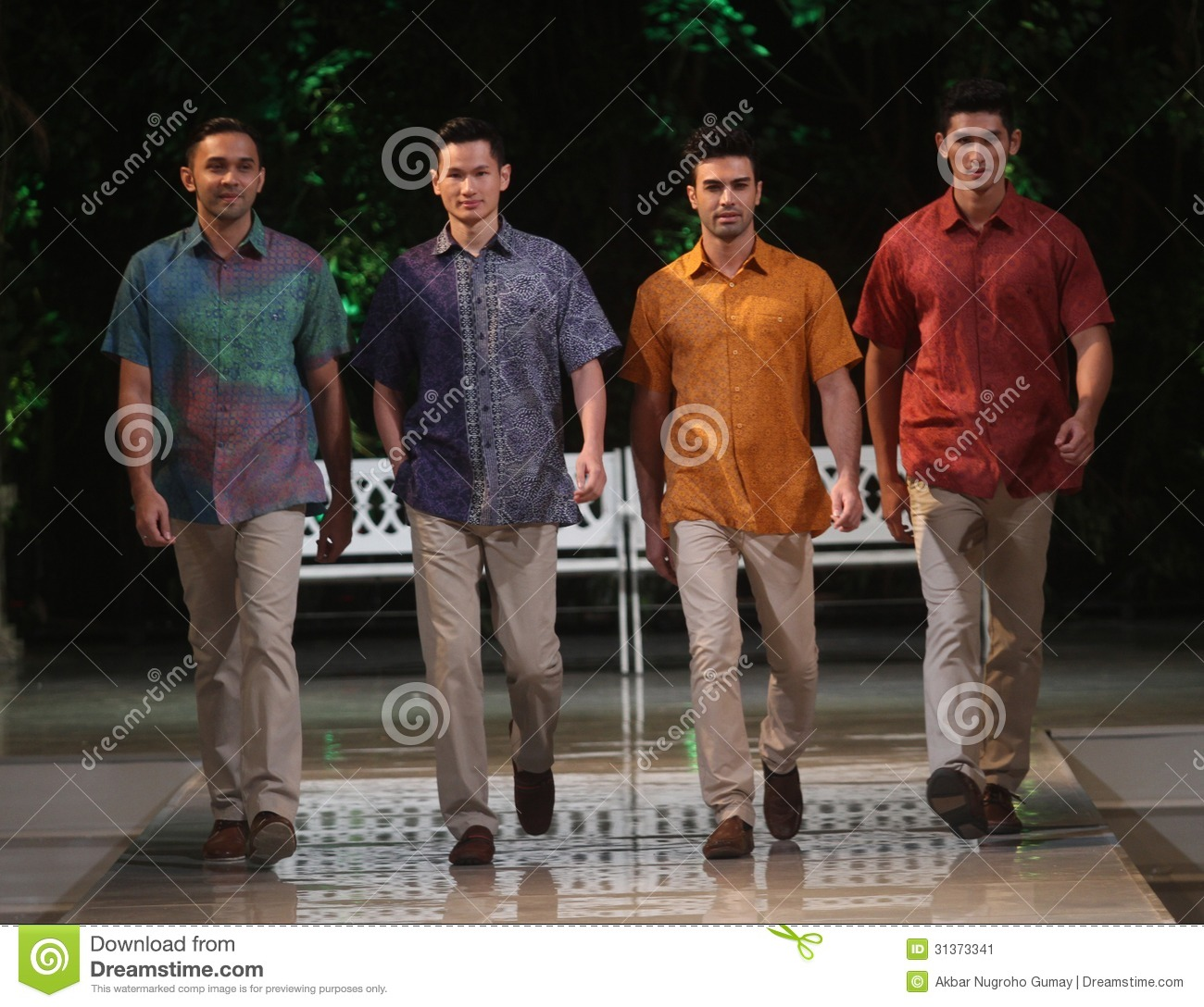 Batik Keris Sukoharjo Solo: Asian Man Model At Fashion Show Runway Editorial Photo