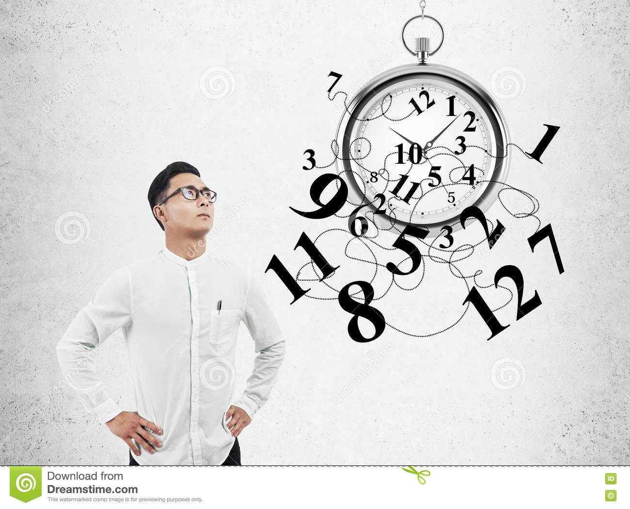 The Young Businessman Time Importance Concept Stock Photo ...