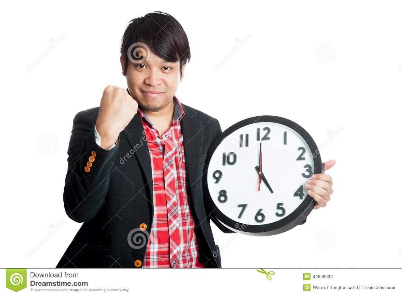 Asian Man Very Happy Finish Work At Five Stock Photo - Image: 42838033