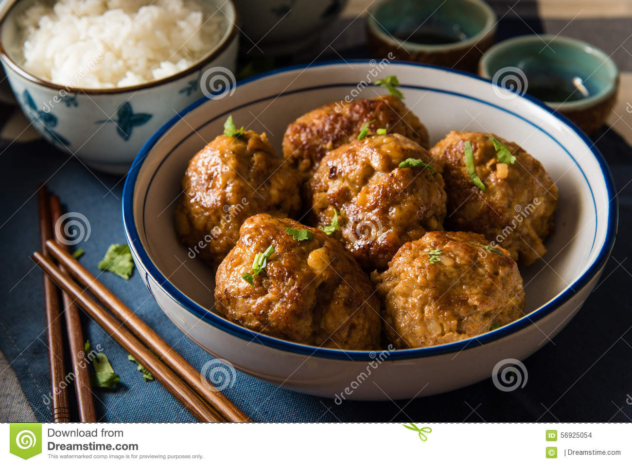 Asian Meatballs Served with White Rice
