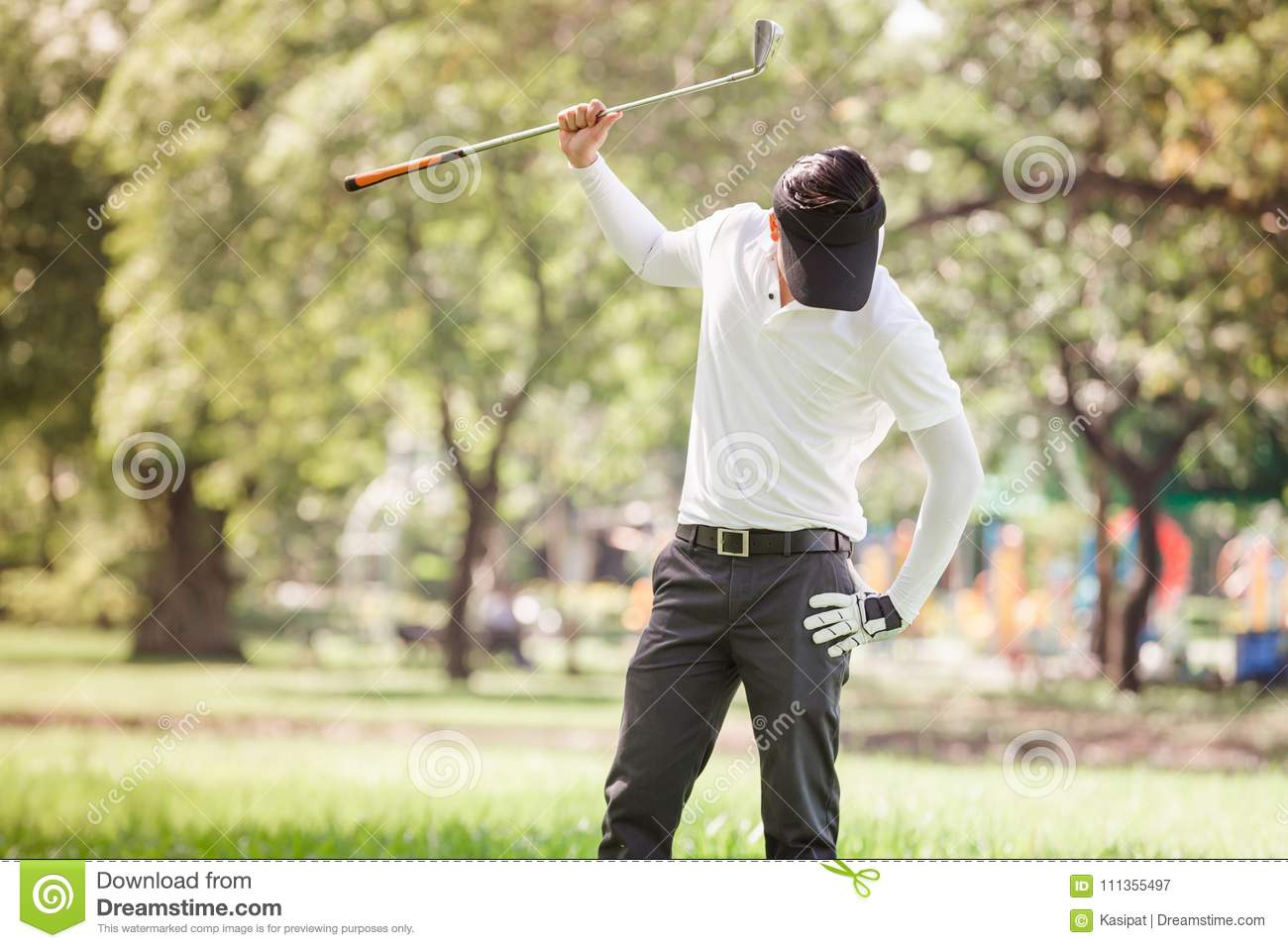 Asian Men Angry Golfer Stock Image Image Of Course 111355497