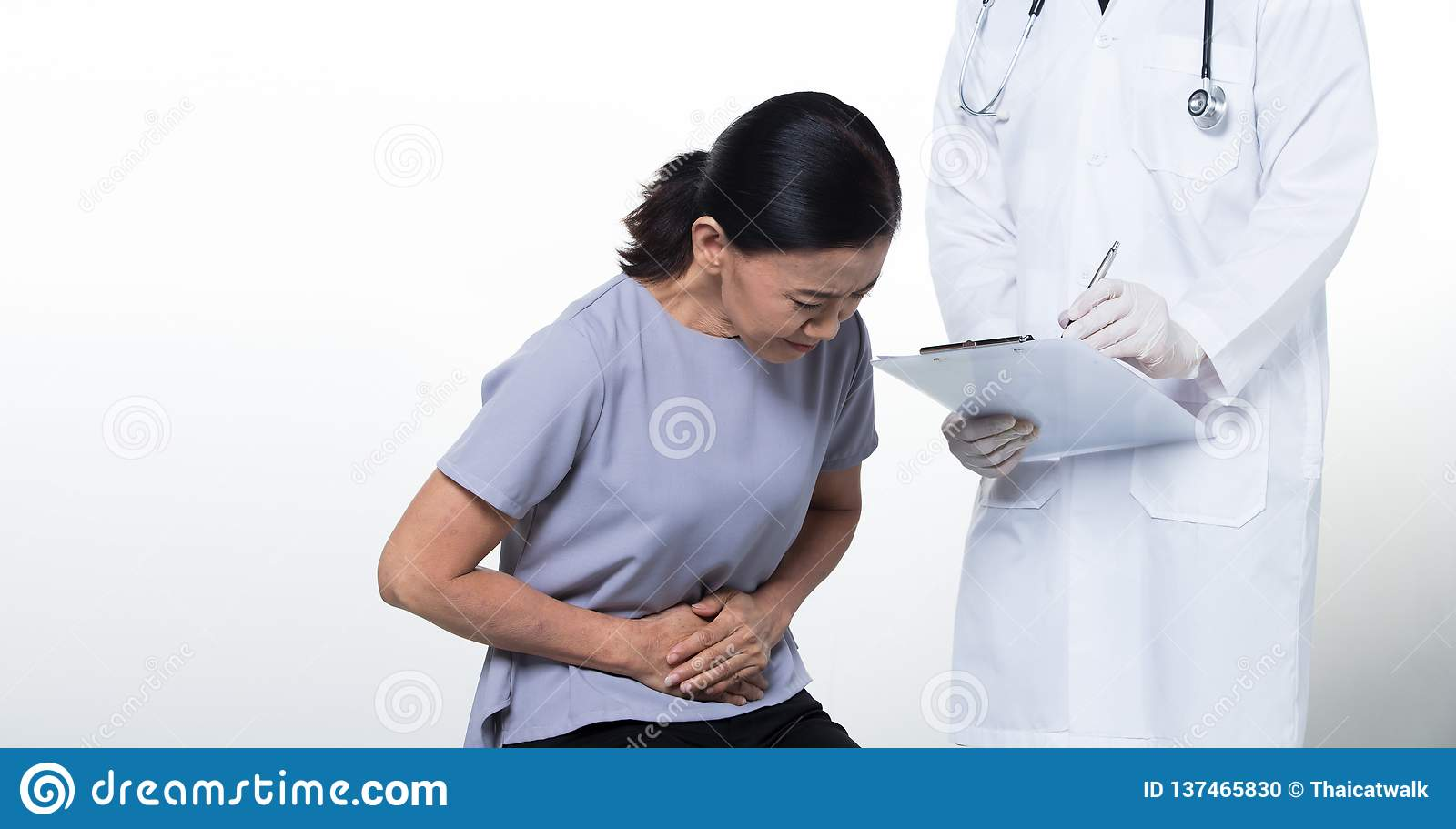 Asian Middle 60s age Woman Patient check up health