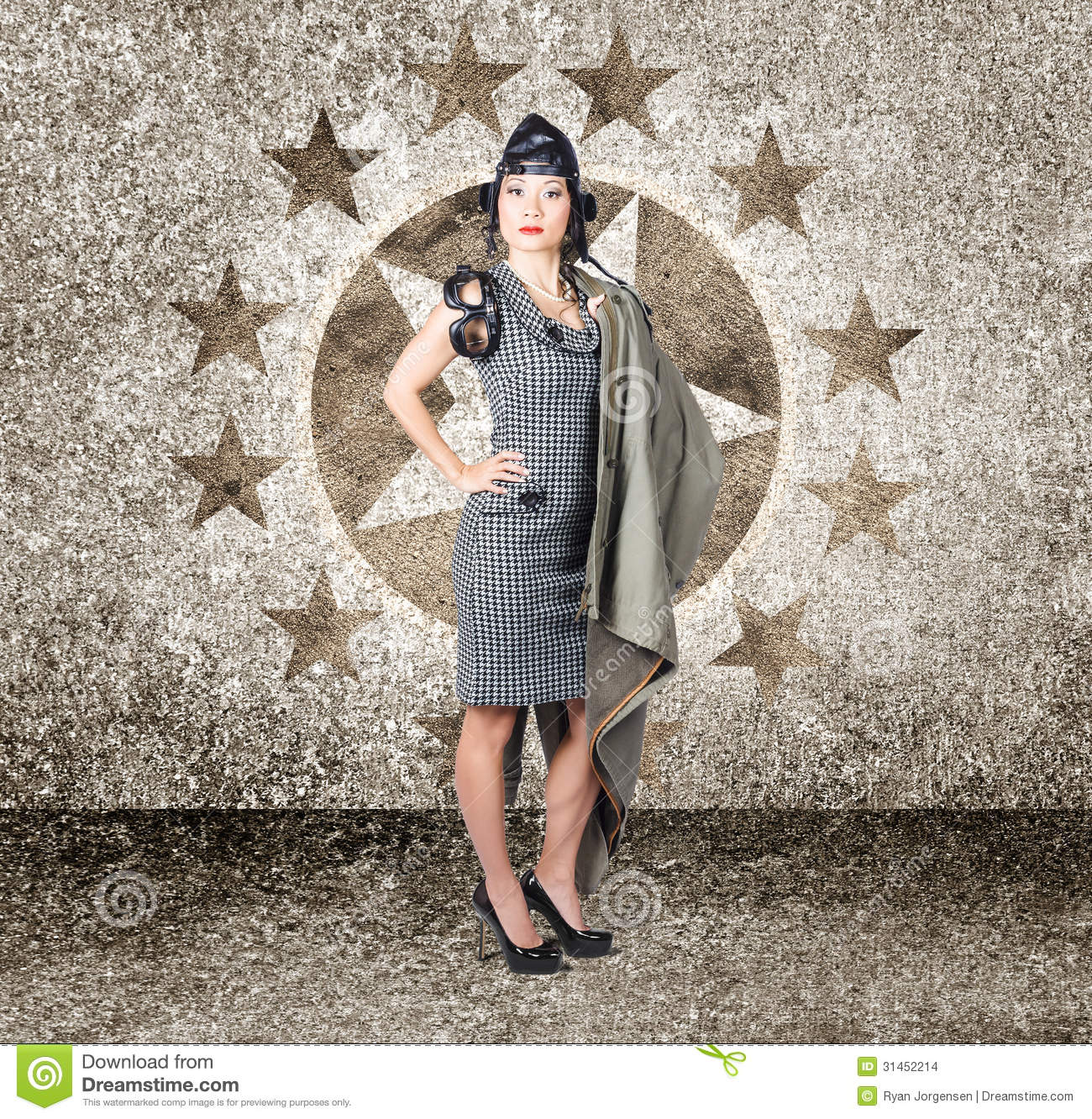 Asian Military Pinup Girl In Retro Air Force Style Stock ...