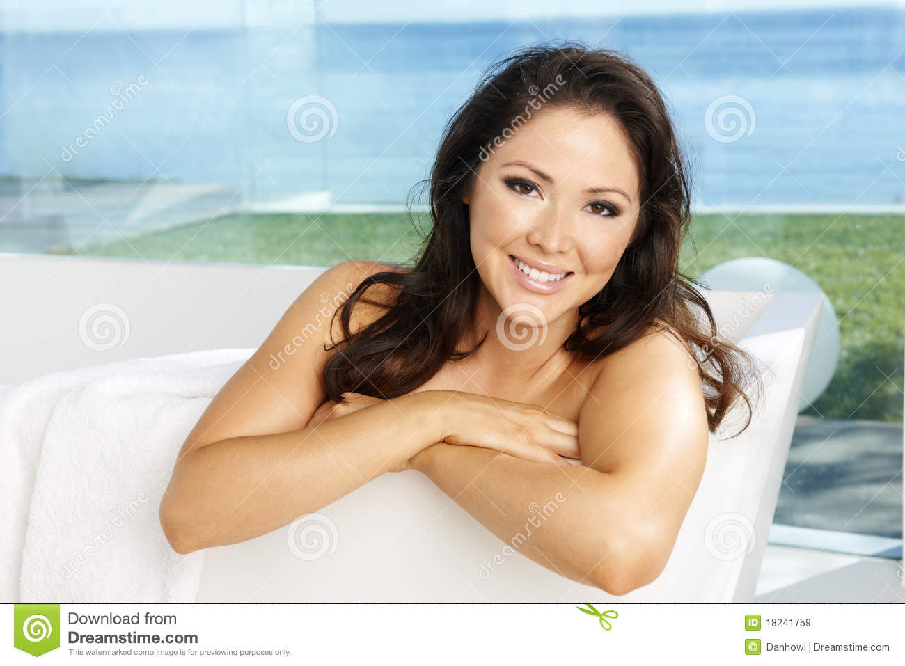 Asian Model in Bath stock image. Image of luxury, lifestyle - 18241759