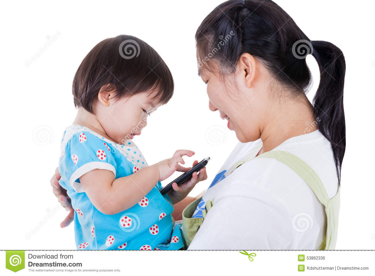 Portrait of an asian mother and her beautiful daughter for Tiny thai teen