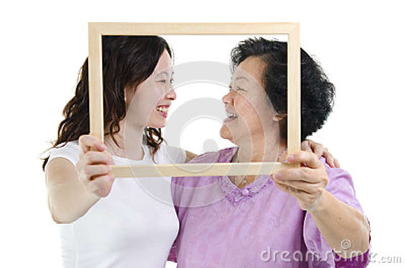 Asian Mother And Daughter Photo Frame Stock Image - Image of ...