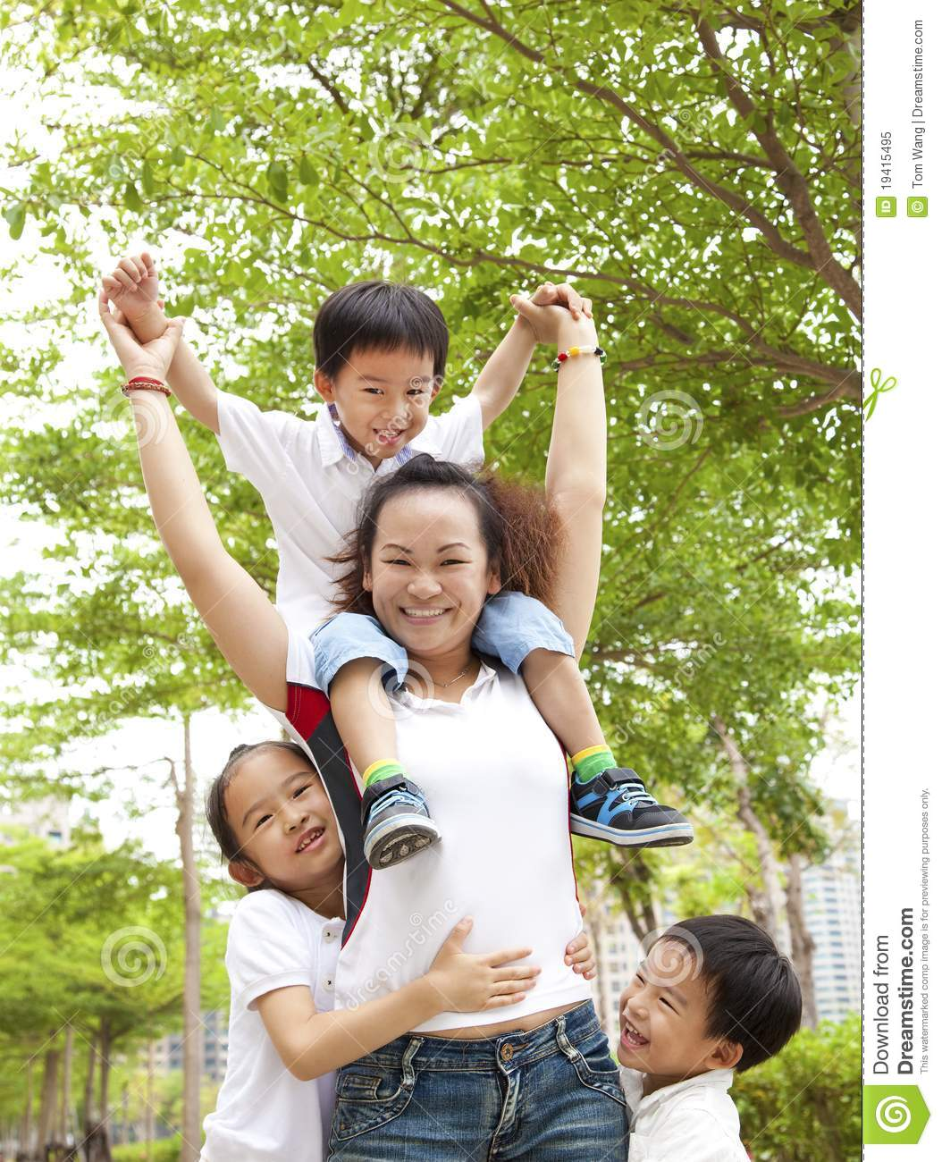 Asian Mother with her daughter and son