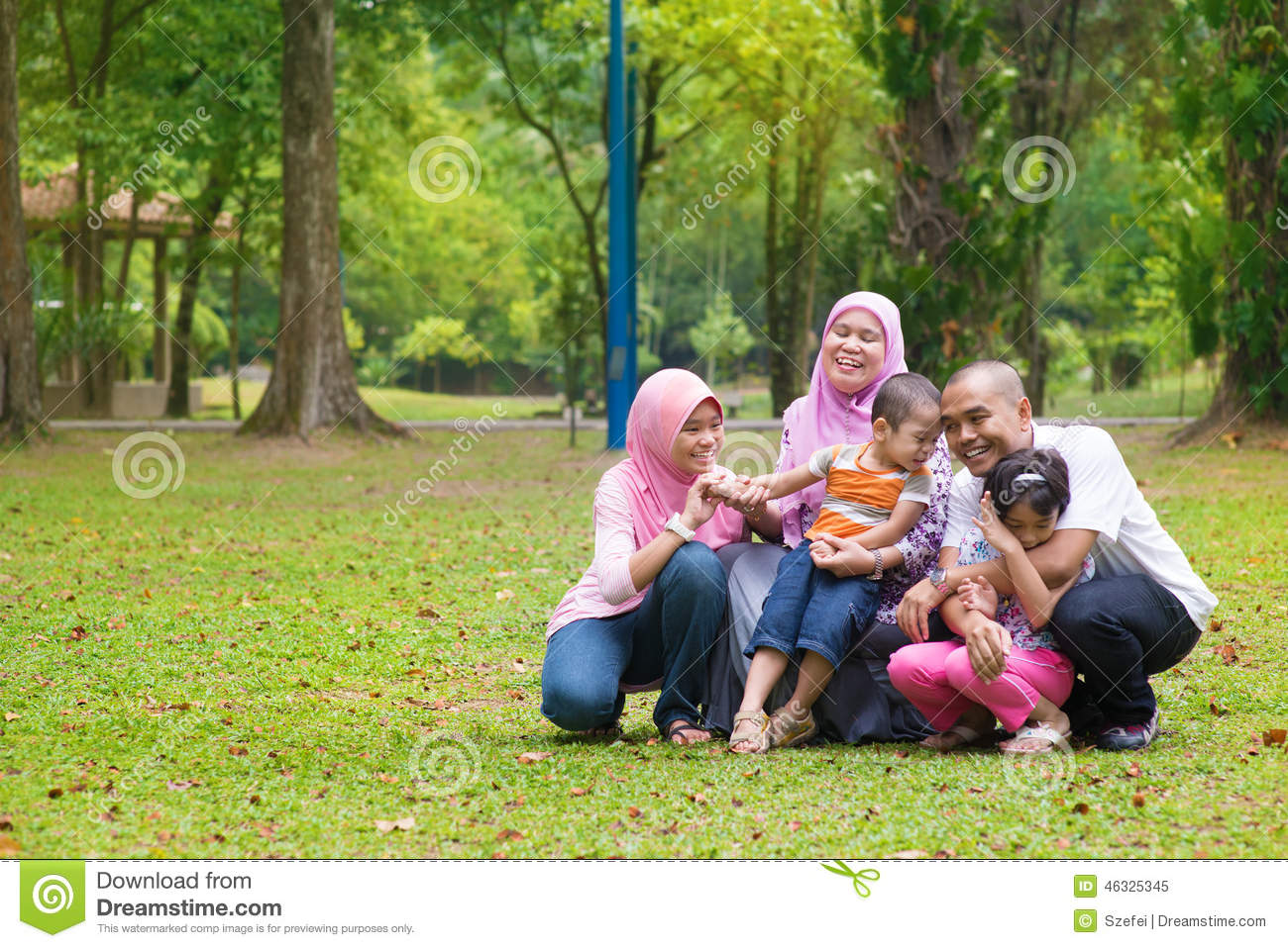 Fun Outdoor Living : Asian Muslim Family Lifestyle Stock Photo - Image: 46325345