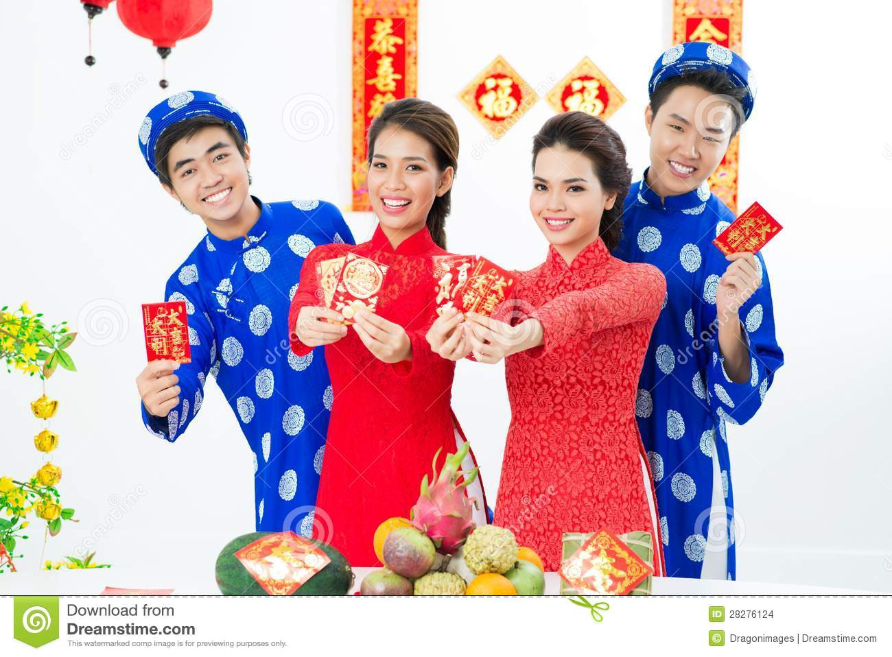 Golden asian new year parties