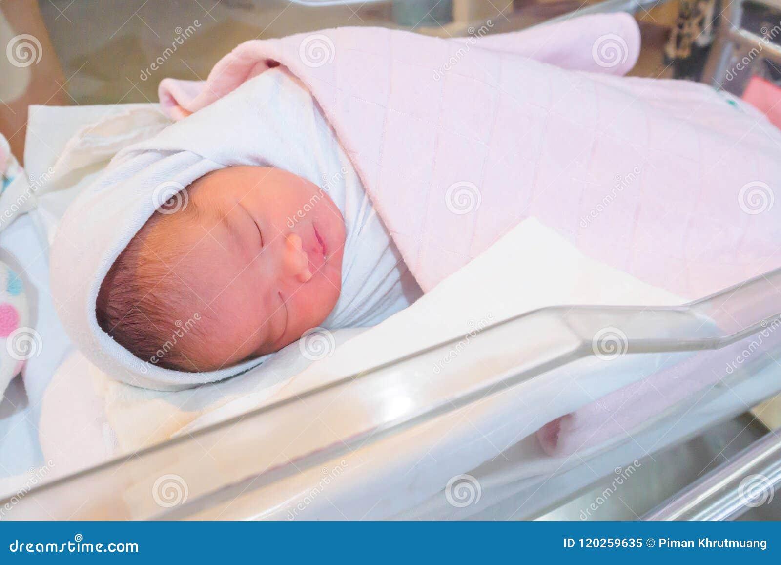 Newborn Baby Girl Sleeping In Hospital Room Stock Image - Image of