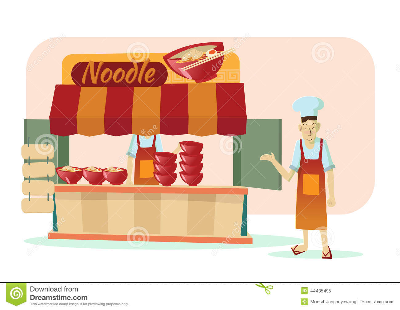 Asian Noodle Shop Cartoon Vector Illustration Stock Vector Illustration Of Asia Soup 44435495