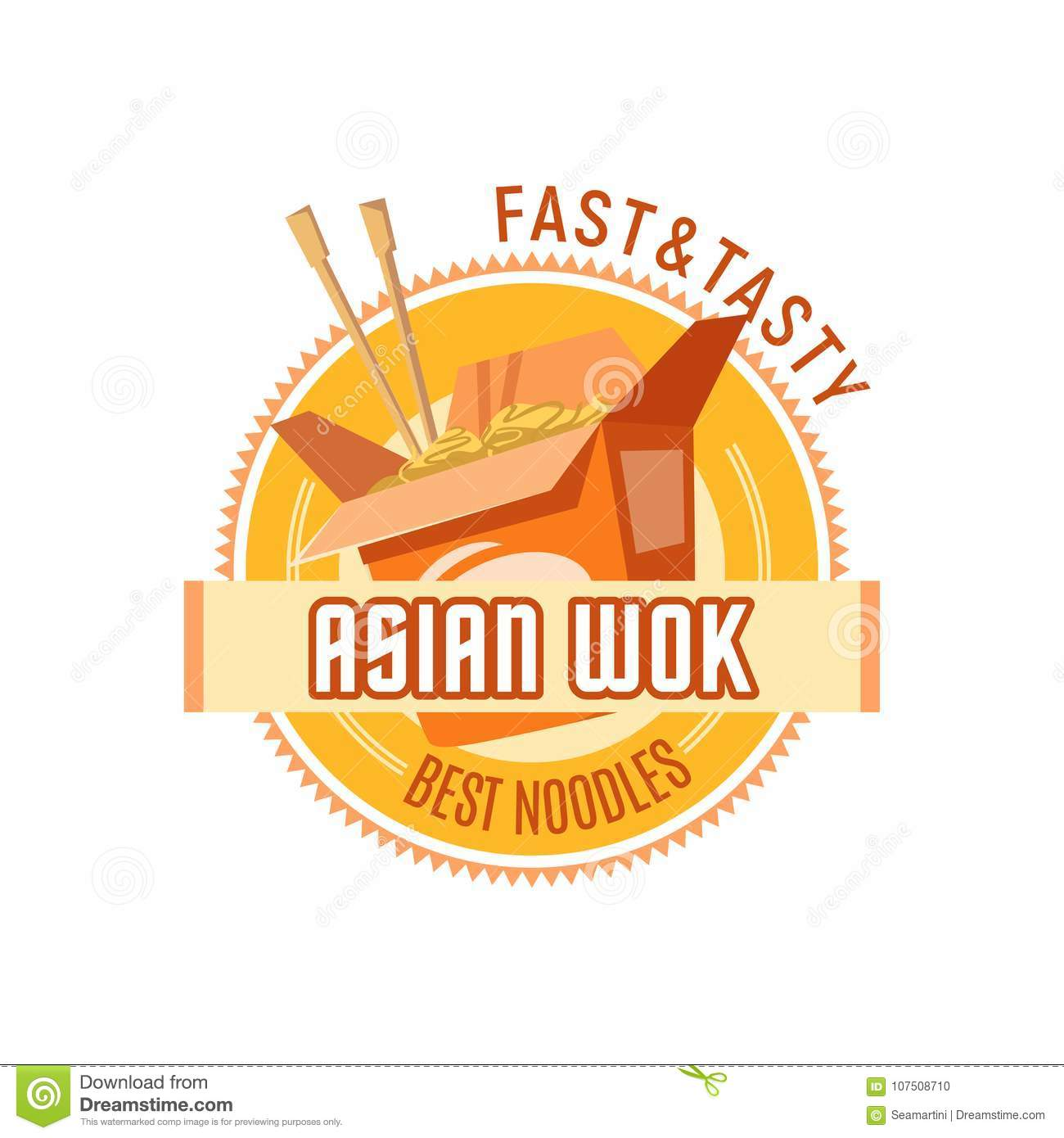 Asian Noodles Or Chinese Wok Cuisine Vector Icon Stock Vector