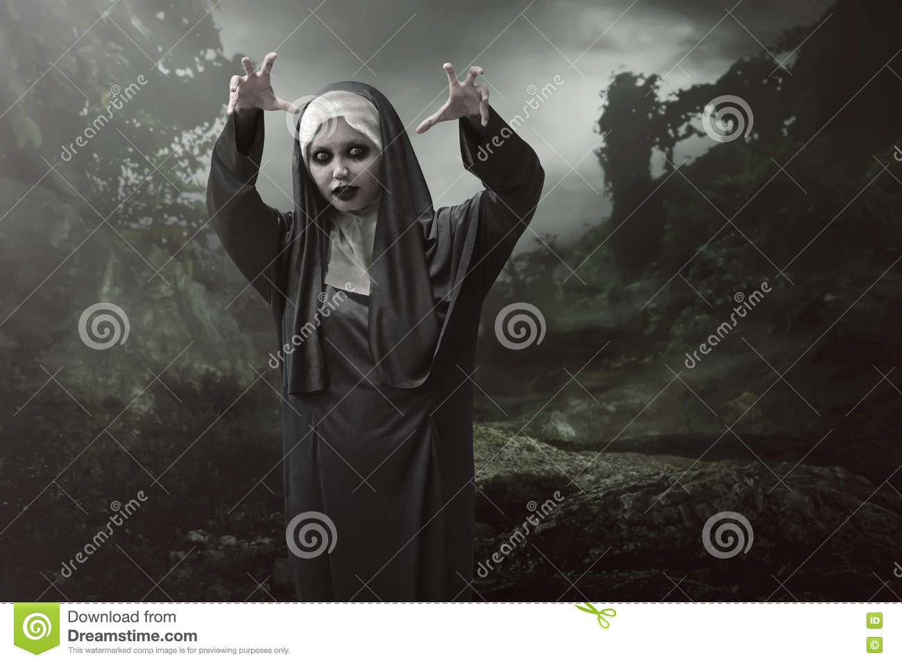 asian nun woman is considered to have magic powers of evil stock