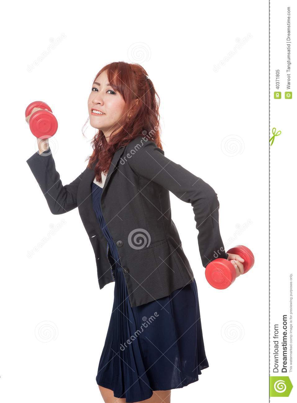 asian office girl do funny pose weight lifting stock photo