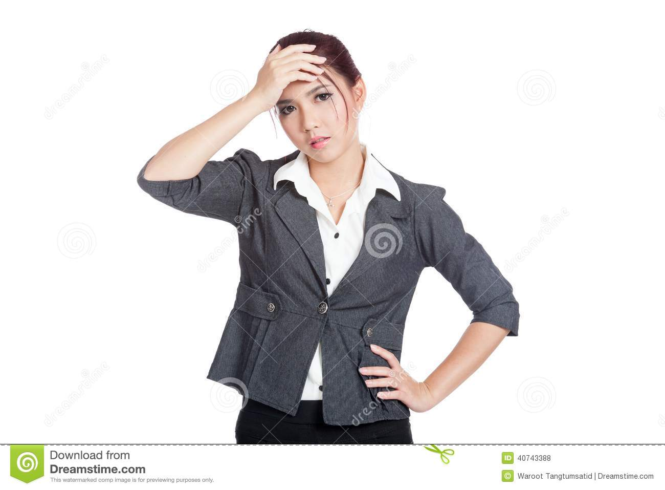 asian office girl headache put palm to forehead stock