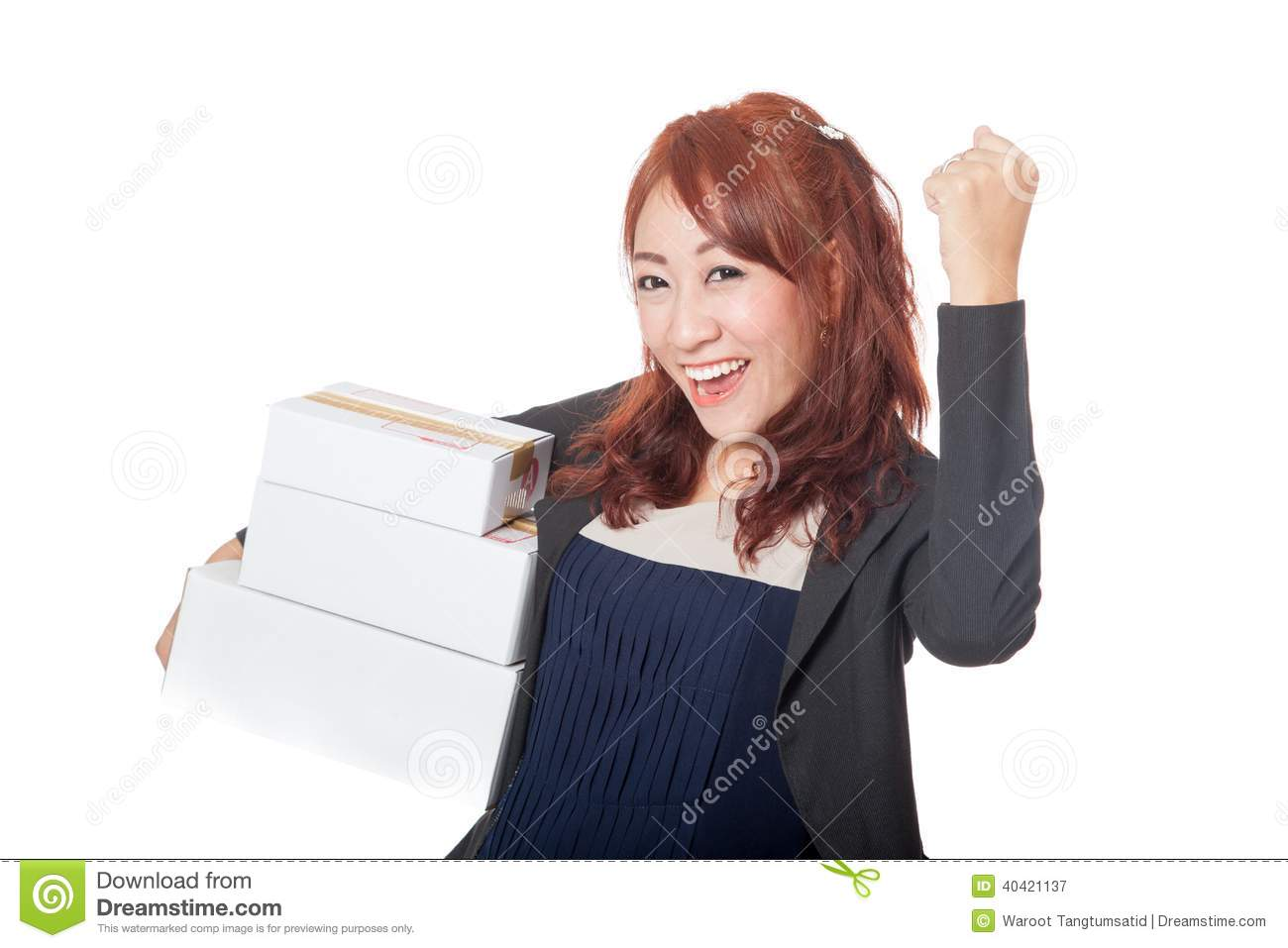 asian office girl very happy with 3 boxes and fist pump