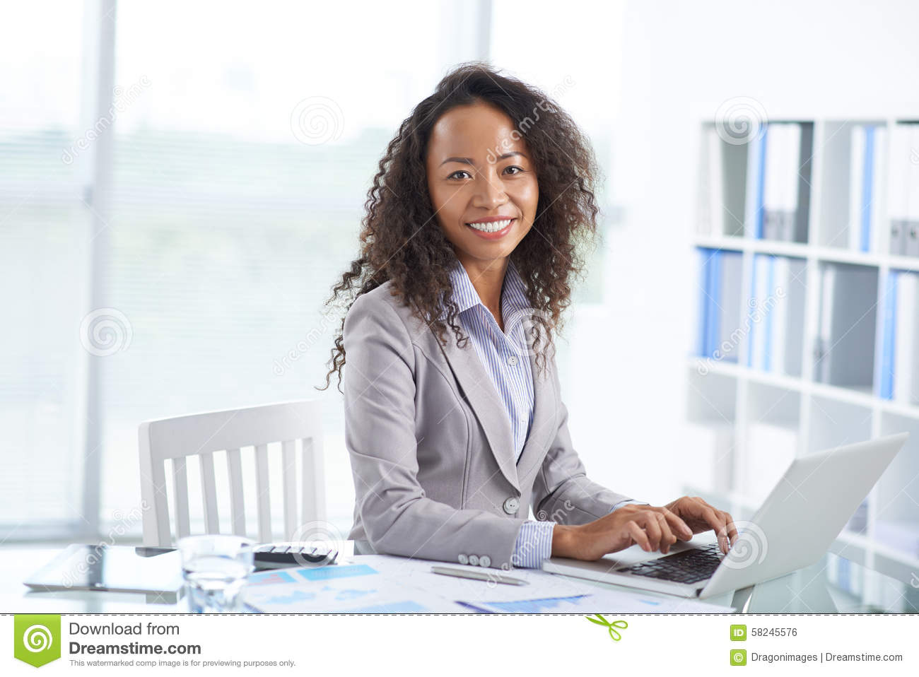 Asian Office Manager Stock Photo - Image: 58245576