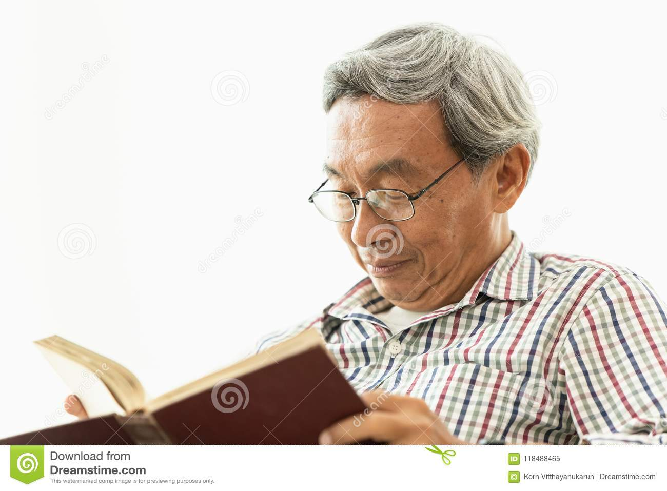Asian Old Man Glasses Professor Amile Reading Textbook Stock Image - Image  of asian, asia: 118488465