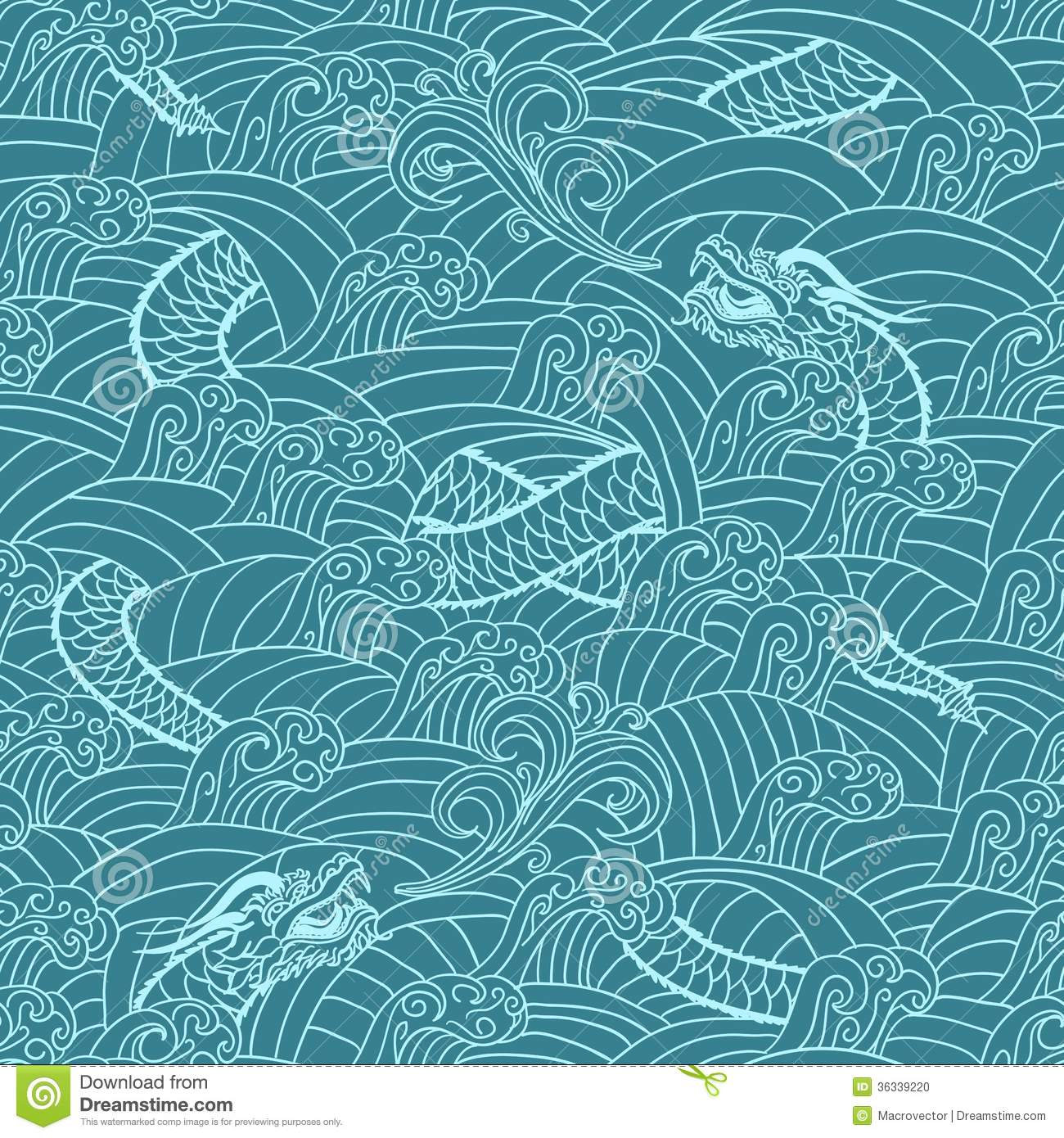 Asian Pattern With Dragon Background Stock Photo - Image: 36339220