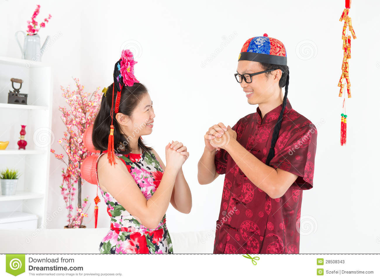 Asian People Greeting During Chinese New Day Stock Photos Image 28508343