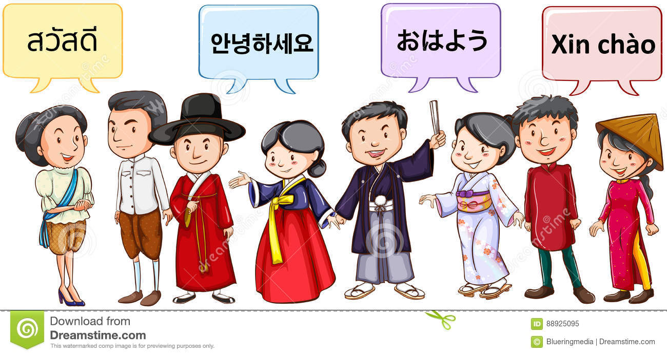 Asian people greeting in different languages stock vector asian people greeting in different languages kristyandbryce Image collections