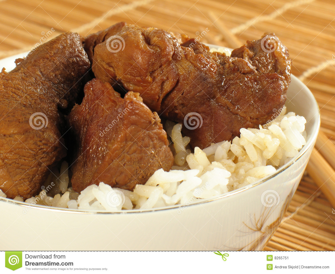 Asian Pork With Rice Stock Image - Image: 8265751