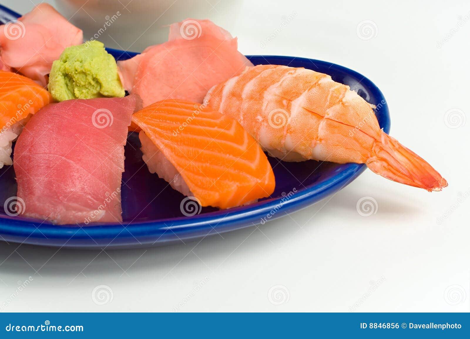 Asian raw fish sushi dinner w shrimp tuna salmon royalty for Is sushi raw fish