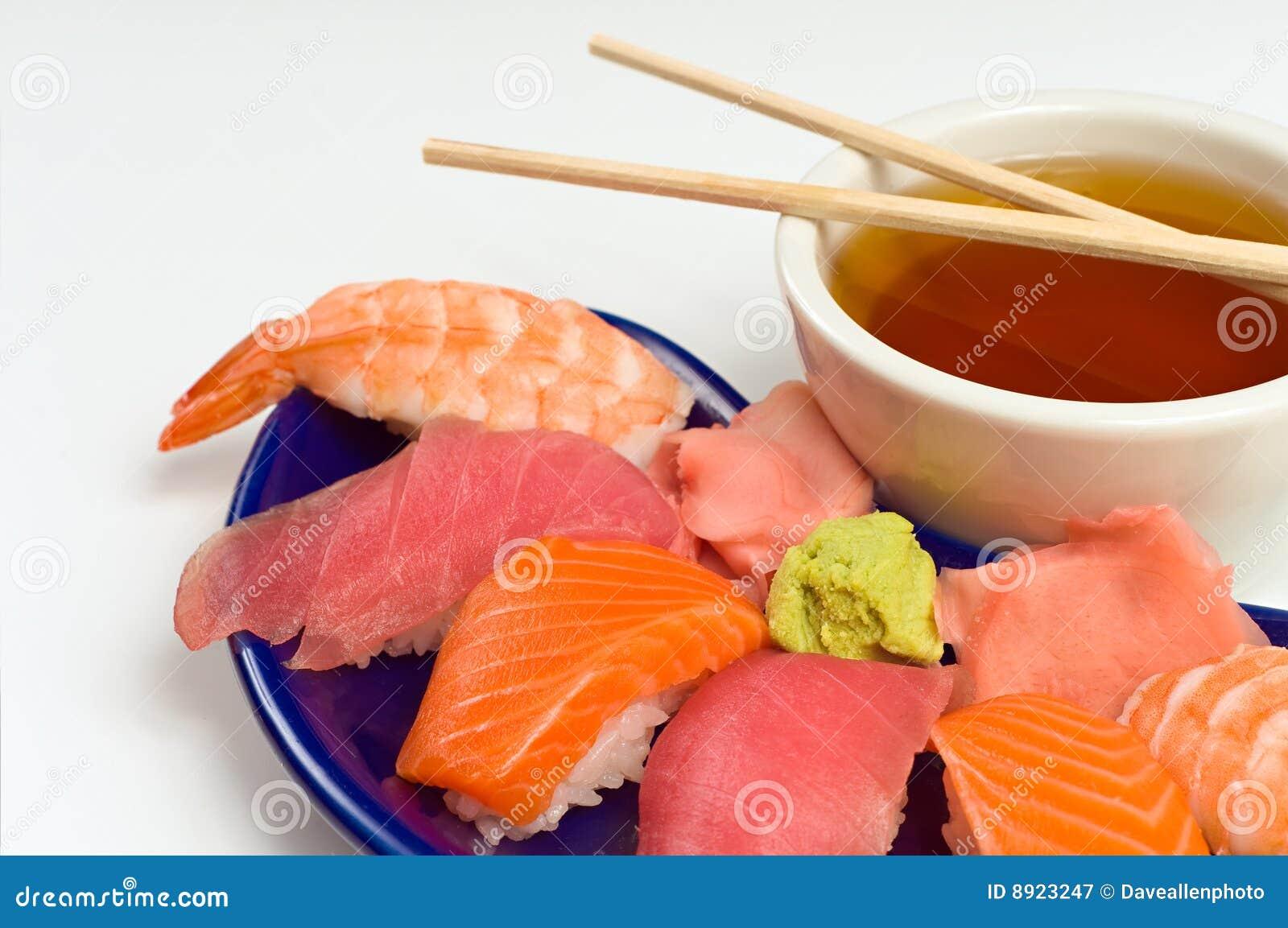 Asian raw fish sushi dinner w shrimp tuna salmon stock for Is sushi raw fish