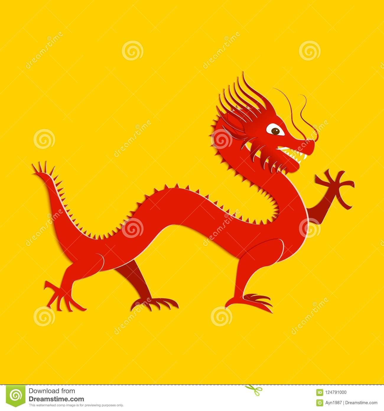 Asian Red Dragon In Paper Cut Style On Yellow Background Origami