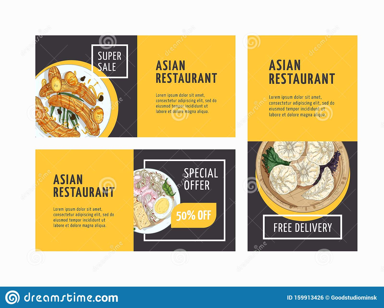 Asian Restaurant Advertising Flyers Templates Set Oriental