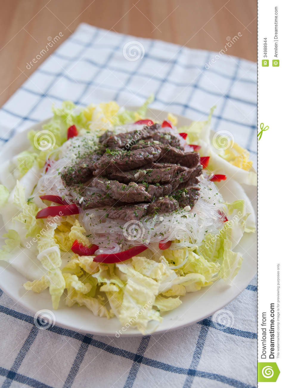 Asian Rice Noodle Salad Stock Images - Image: 34988944