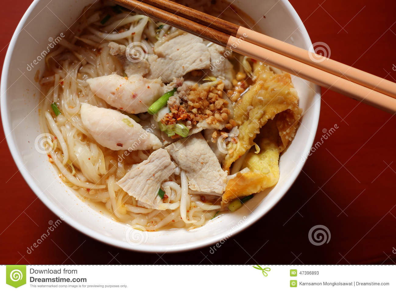 Asian Rice Noodle Soup With Pork, Fish Ball And Crisps Dumpling. Stock ...