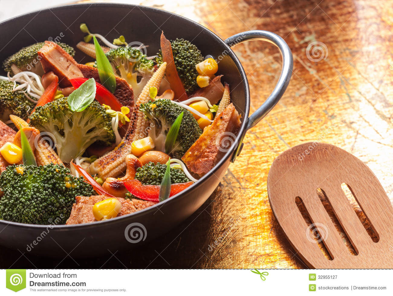 Fresh Asian roasted vegetables in a wok for a quick easy light healthy ...