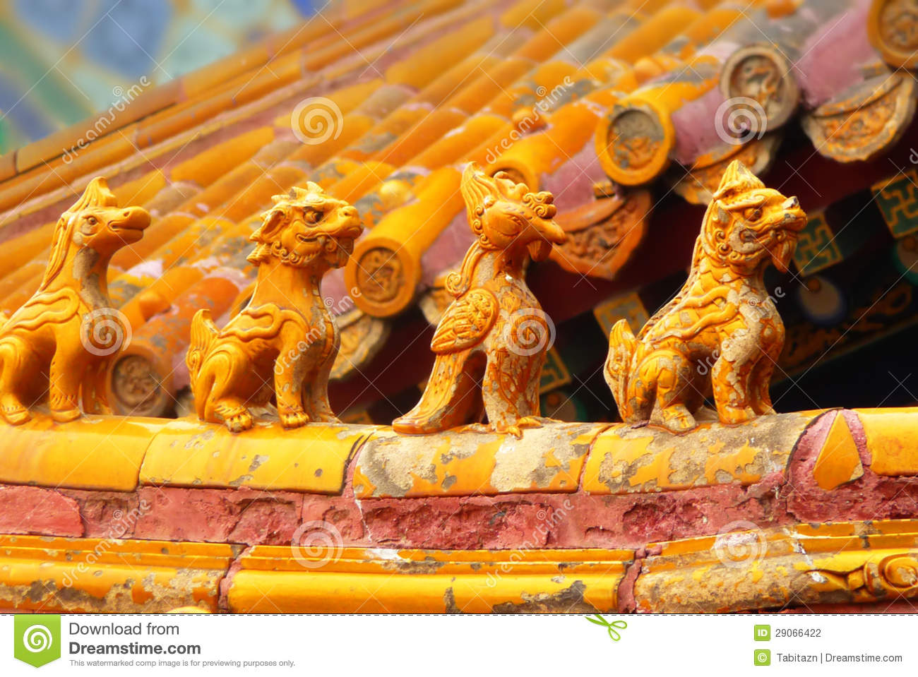 Asian Roof In Forbidden City Beijing China Stock Photo