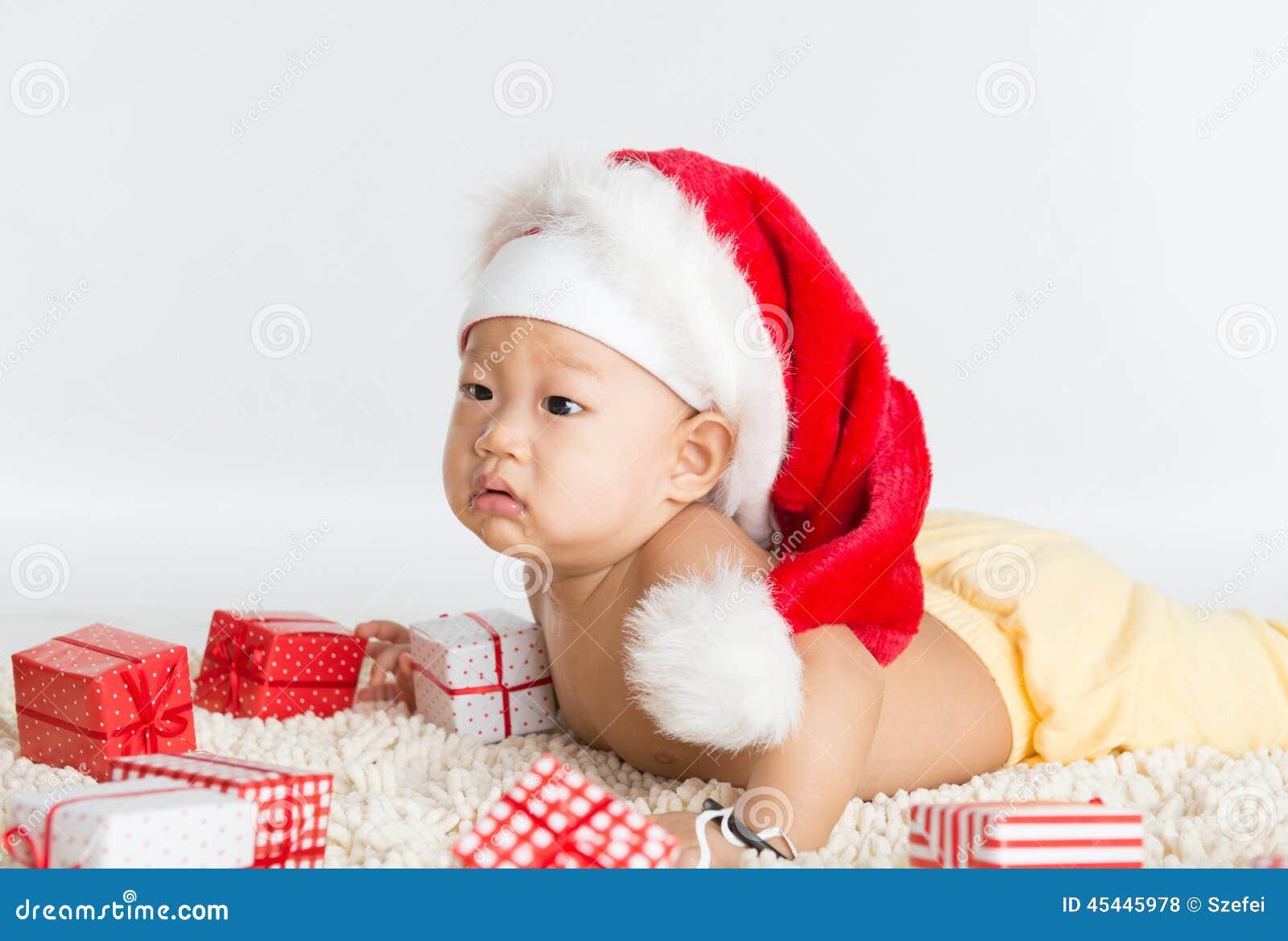 Baby Boy Gifts Christmas : Asian santa baby boy stock photo image of happiness