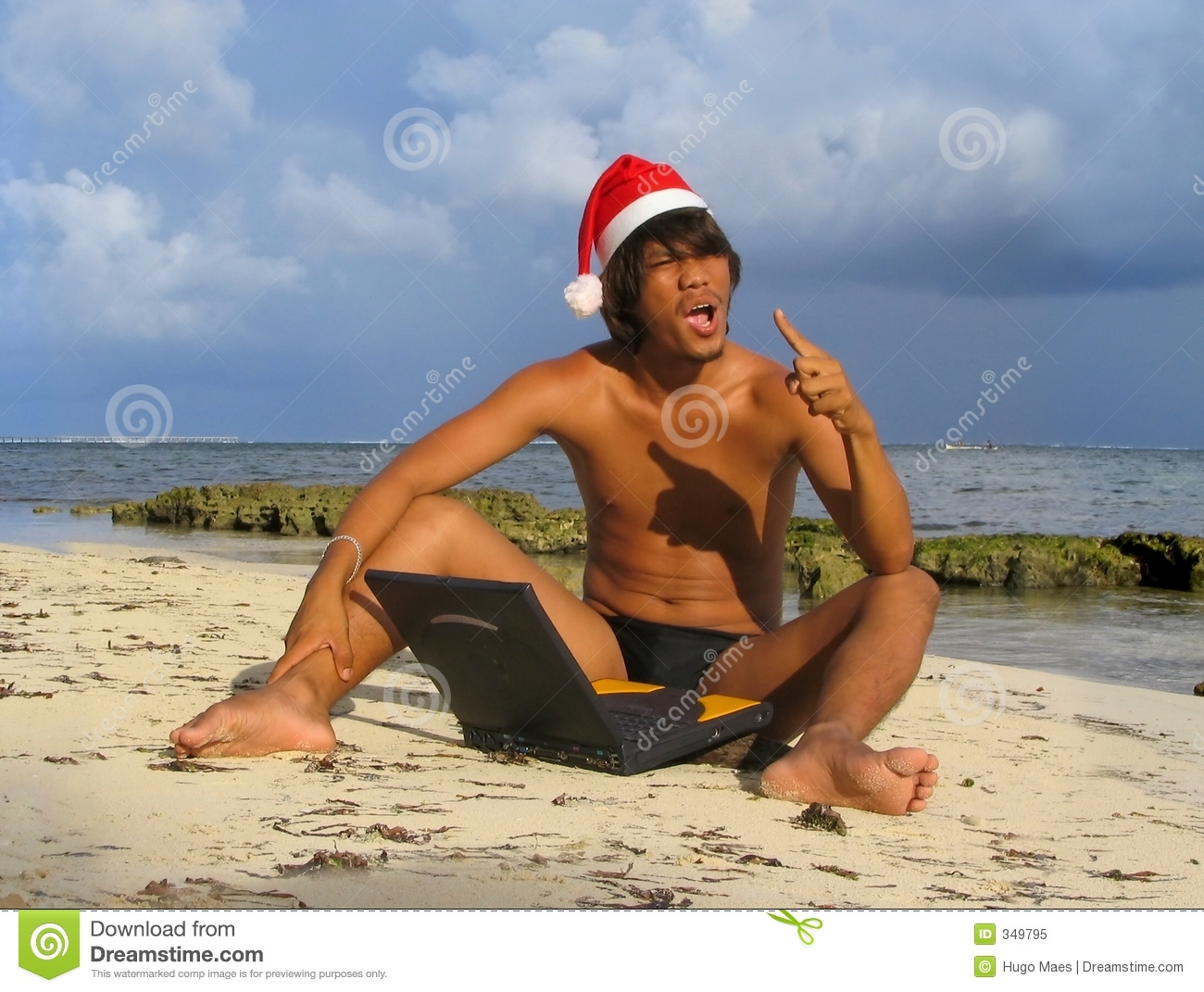 Asian Santa On Beach With Laptop Royalty Free Stock Photo ...: https://www.dreamstime.com/royalty-free-stock-photo-asian-santa-beach-laptop-image349795