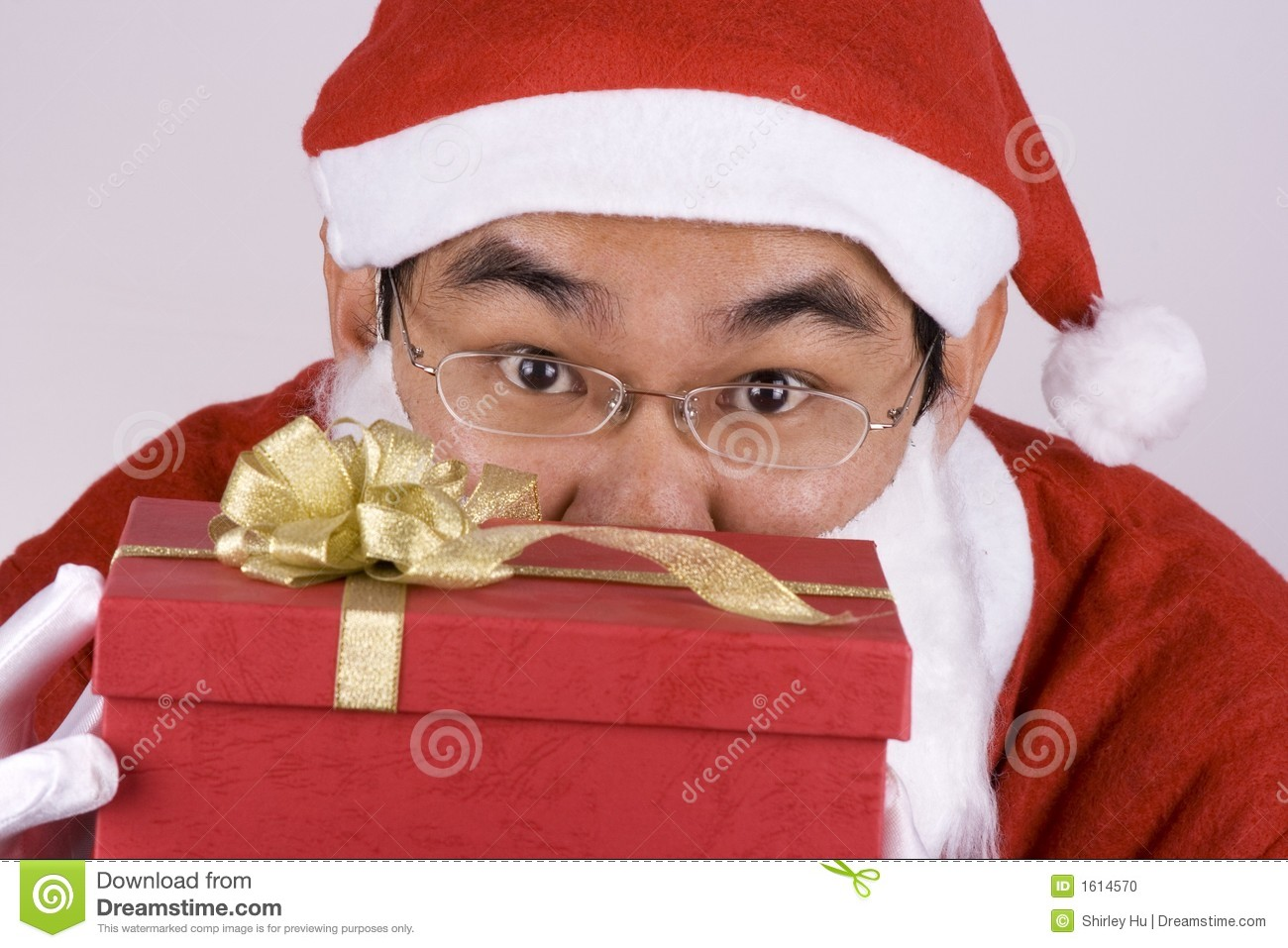 Asian Santa Claus With Present Stock Photo Image 1614570