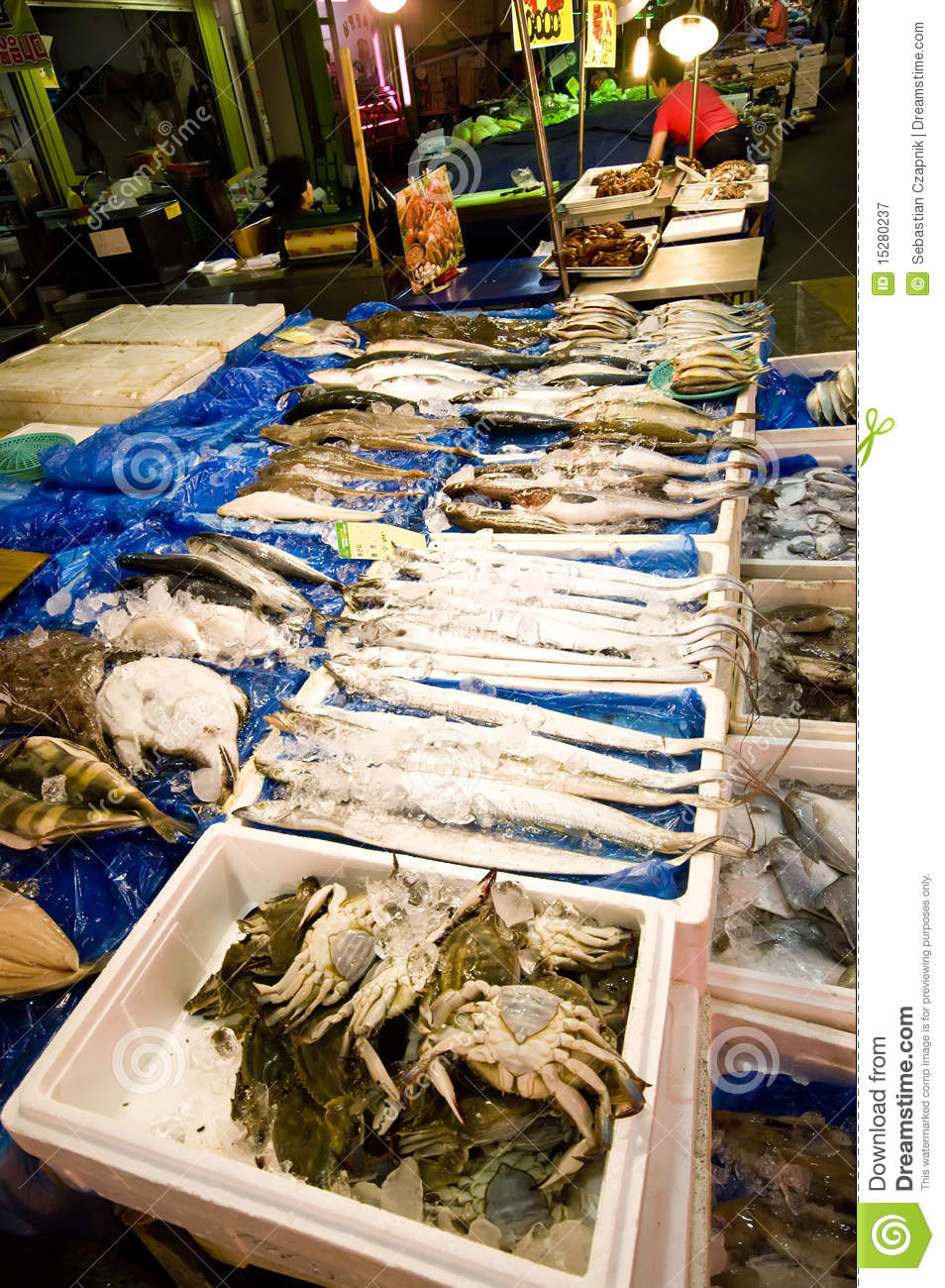Asian seafood market royalty free stock photography for Oriental fish market