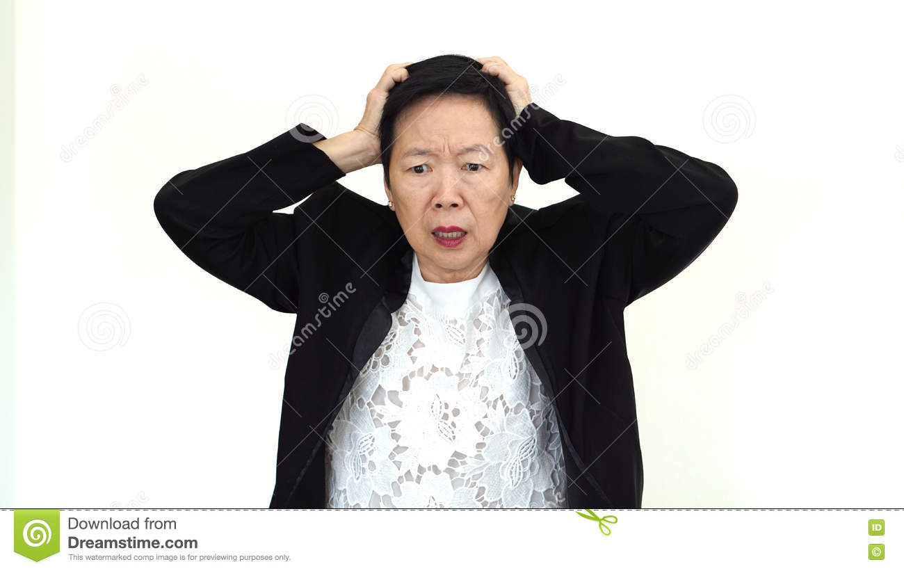 Asian senior businesswoman stressed out