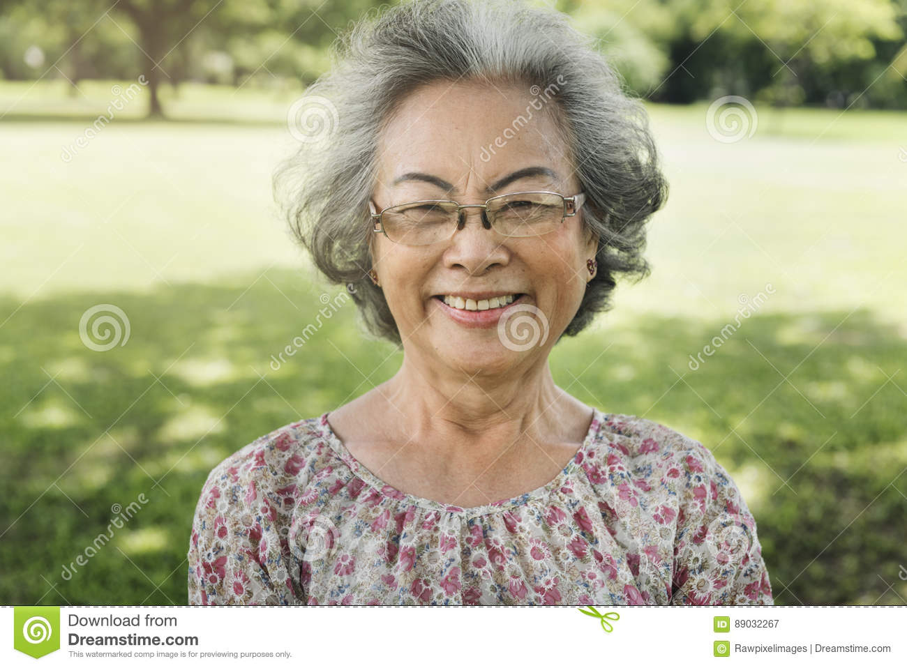 Asian Senior Woman Smiling Lifestyle Happiness Concept