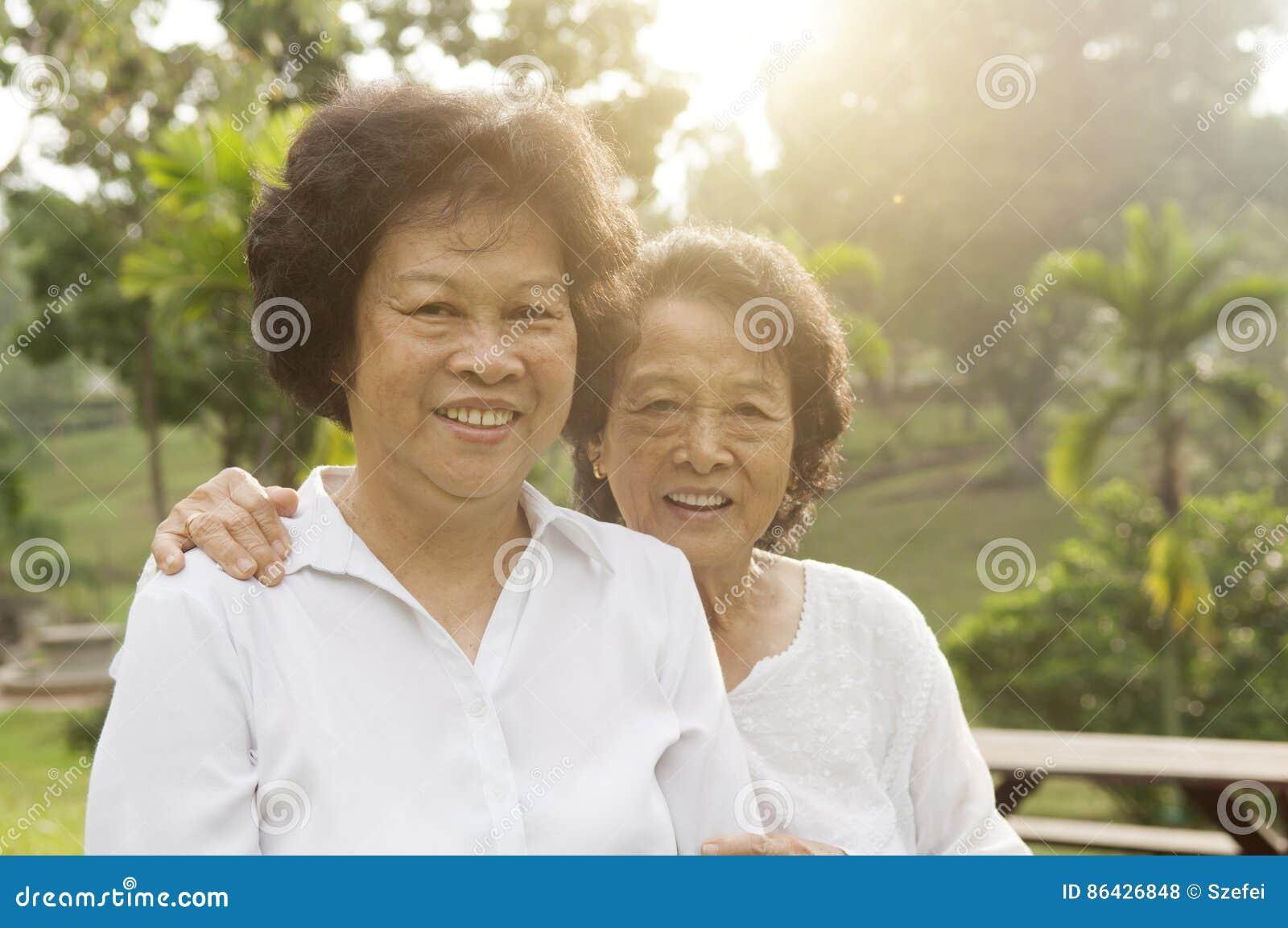 Asian seniors family having good time