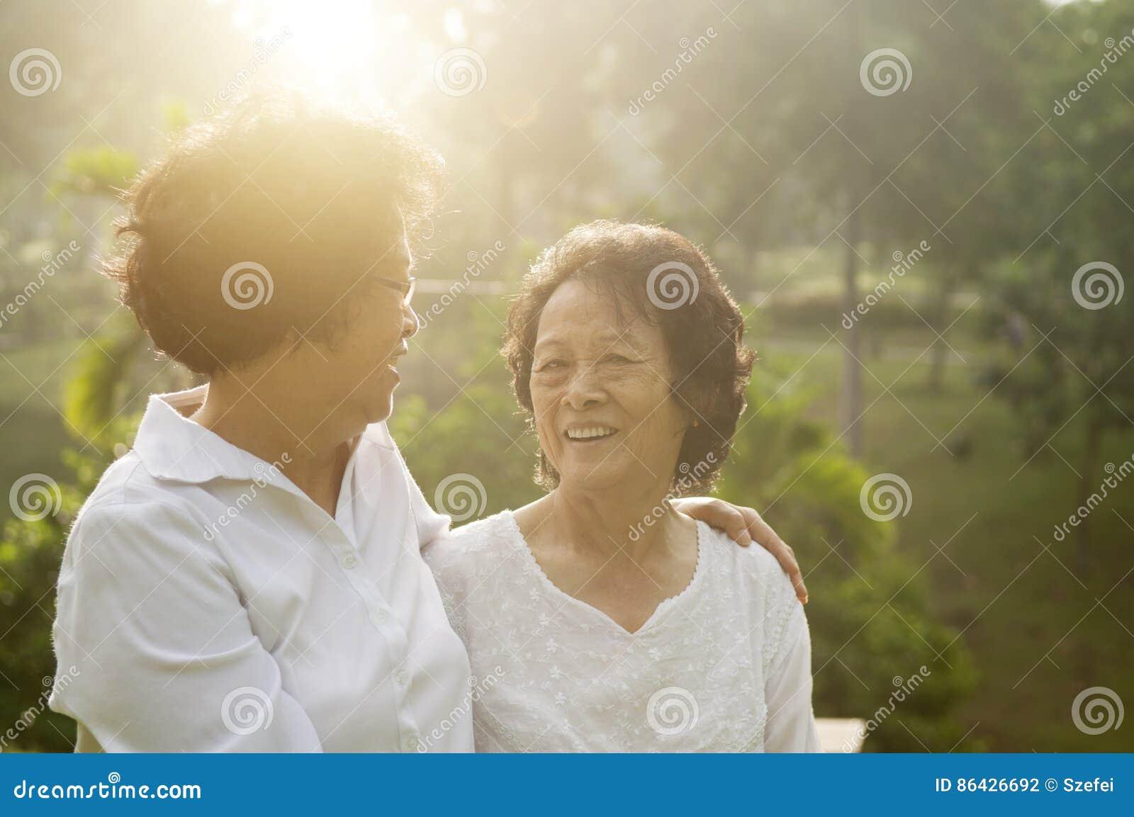 Asian seniors family at outdoor