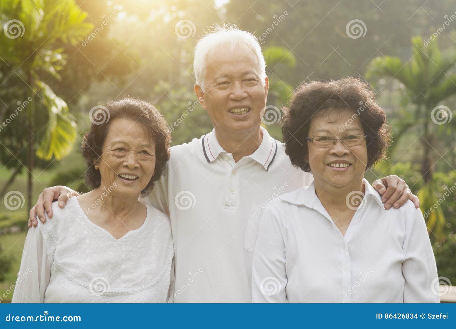 Asian seniors group at outdoor park