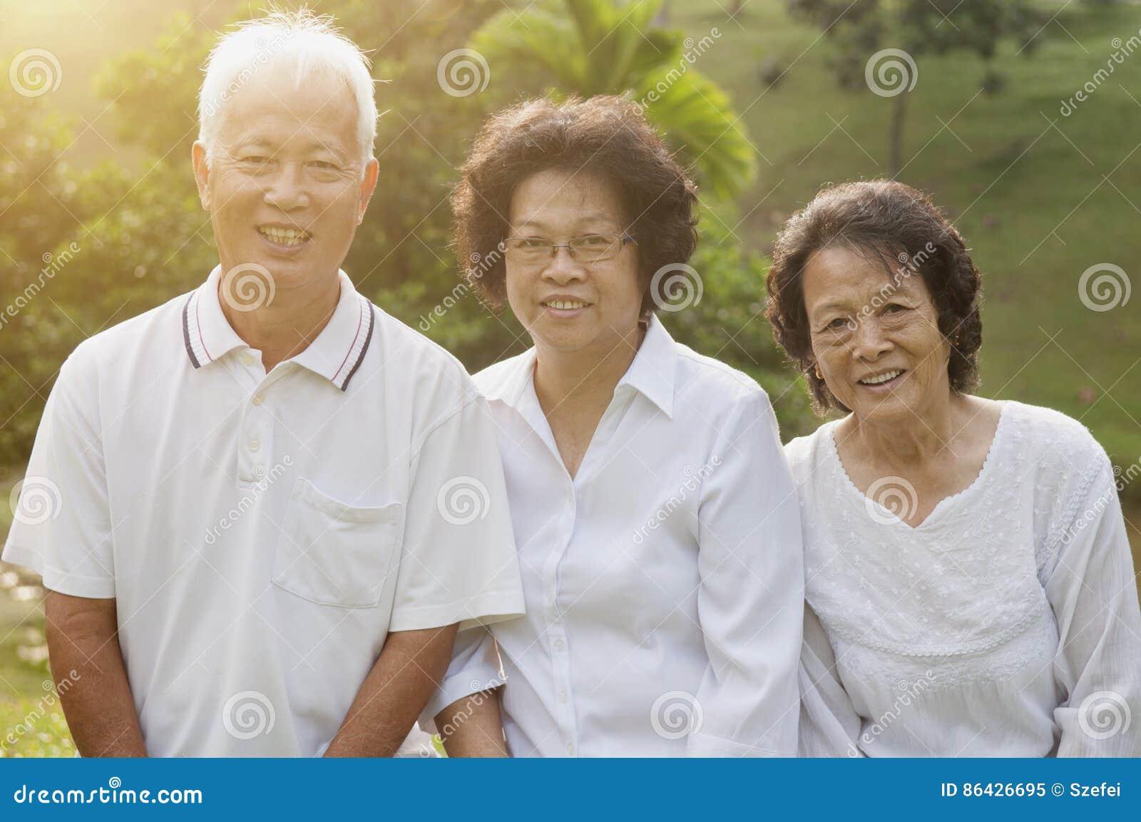 Asian seniors group portrait