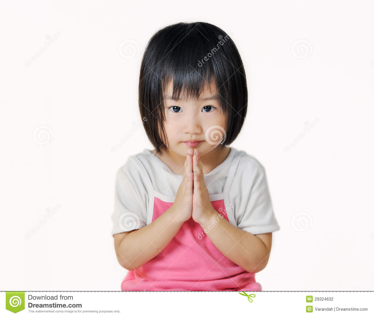 thai child Asian small child pay respect in Thai style