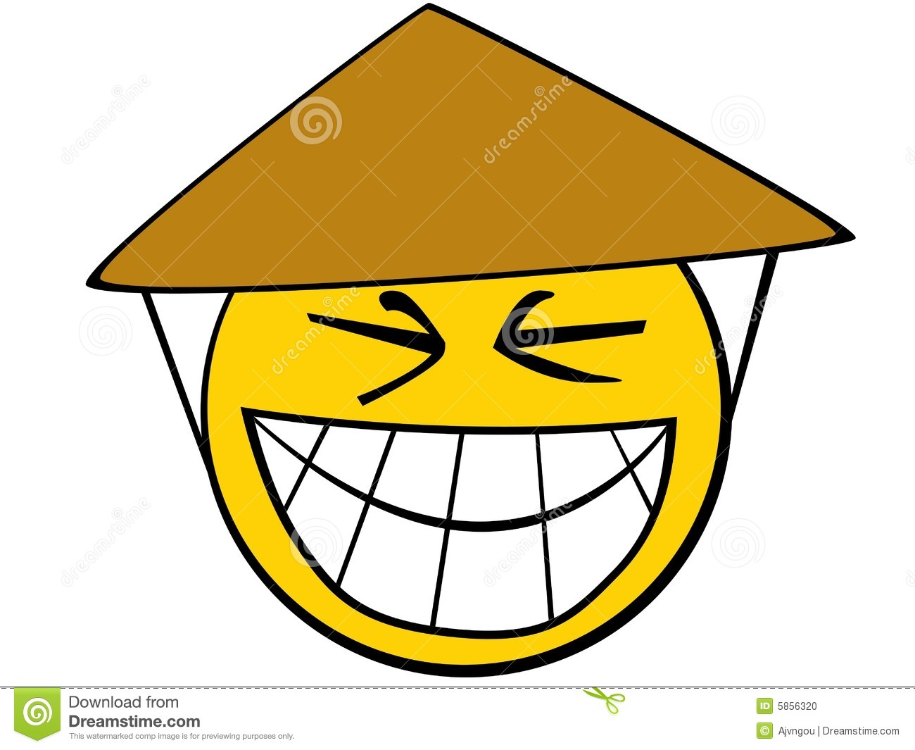 Smiley icon of asian guy with typical hat.