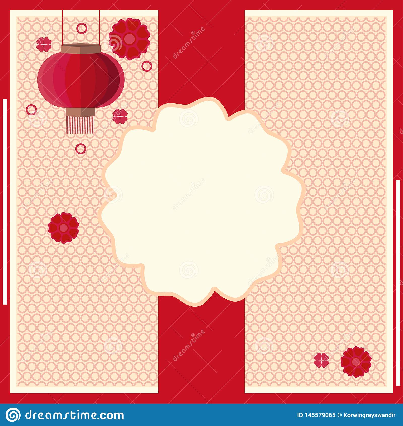 Asian style background with flashlight and copy space flowers used as template for posters, banners, flyers and other
