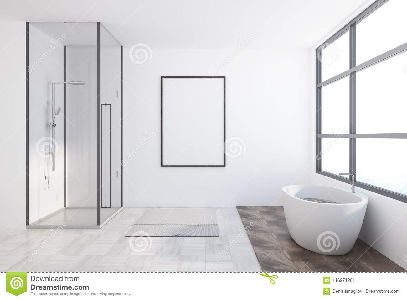 Asian Style Bathroom Interior, Poster Stock Illustration ...